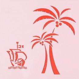 POCHOIR PLASTIQUE 13*13cm : palmier et voilier