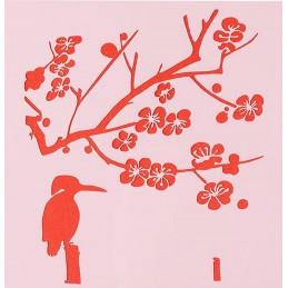POCHOIR PLASTIQUE 13*13cm : branches et oiseau (02)