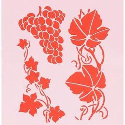 POCHOIR PLASTIQUE 13*13cm : grappe raisin (02)