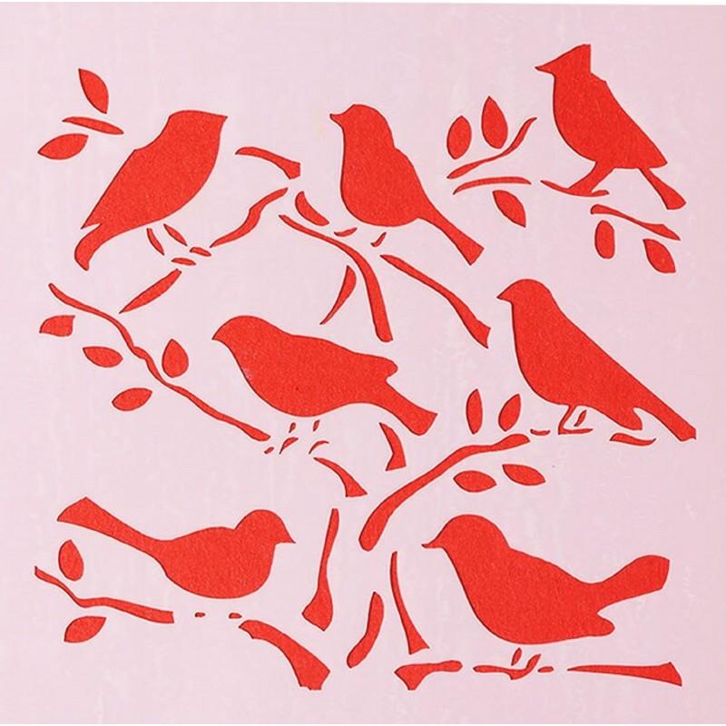 POCHOIR PLASTIQUE 13*13cm : oiseaux