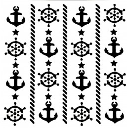 POCHOIR PLASTIQUE 13*13cm : mur motif mer
