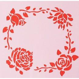POCHOIR PLASTIQUE 13*13cm : roses (11)