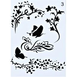 POCHOIR PLASTIQUE 20*14cm : papillons et fleurs (01)