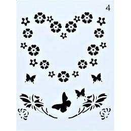 POCHOIR PLASTIQUE 20*15cm : coeur de fleurs et papillons