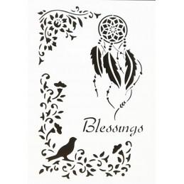 POCHOIR PLASTIQUE 30*21cm :  oiseau et fleurs (03)
