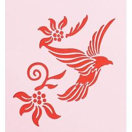 POCHOIR PLASTIQUE 13*13cm : oiseau et fleurs (04)