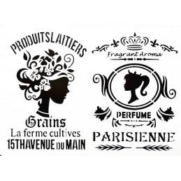 POCHOIR PLASTIQUE 30*21cm : Parisienne