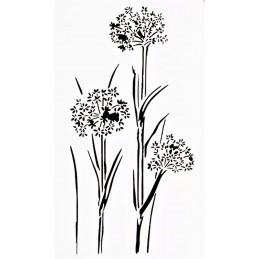 POCHOIR PLASTIQUE 23*12cm : fleurs (10)