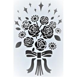 POCHOIR PLASTIQUE 25*17cm : bouquet fleur