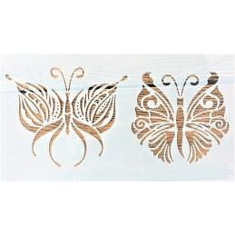POCHOIR PLASTIQUE 21*12cm : papillons mandala