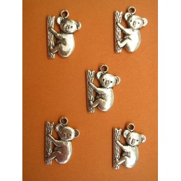 LOT 5 BRELOQUES/CHARMS METALS ARGENTES : koala19mm