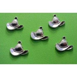 LOT  5 CHARMS METALS ARGENTES : Chapeau Cowboy  15 mm