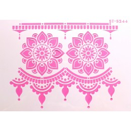POCHOIR PLASTIQUE 30*21cm : bordure et motif fleur