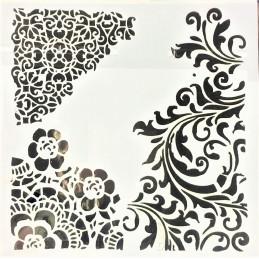 POCHOIR PLASTIQUE 13*13cm : motif fleur (07)