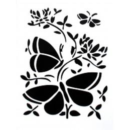 POCHOIR PLASTIQUE 25*17cm : papillons (01)