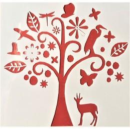 POCHOIR PLASTIQUE 13*13cm : arbre et animaux