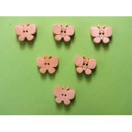 LOT 6 BOUTONS BOIS : papillon 12mm