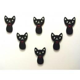 LOT 6 BOUTONS BOIS : chat noir 27*18mm (02)