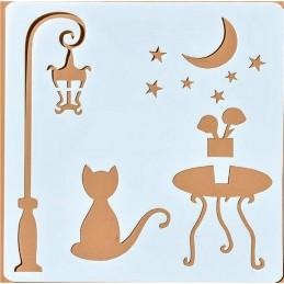 POCHOIR PLASTIQUE 13*13cm : chat dans un decor exterieur (01)