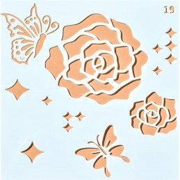 POCHOIR PLASTIQUE 13*13cm : roses et papillons