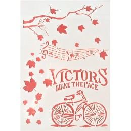 POCHOIR PLASTIQUE 30*21cm : bicyclette, partition, automne