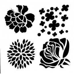 POCHOIR PLASTIQUE 13*13cm : fleur (24)