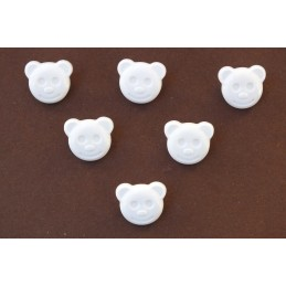 LOT 6 BOUTONS : tete ours blanc 14mm