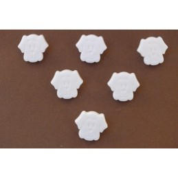 LOT 6 BOUTONS : tete chien blanc 17mm
