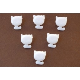 LOT 6 BOUTONS : chat blanc 14mm (01)