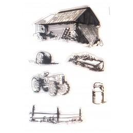 6 Tampons en silicone transparent  motifs : Ferme agricole vintage
