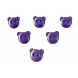 LOT 6 BOUTONS : tete ours violet 14mm