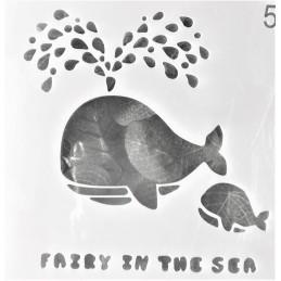POCHOIR PLASTIQUE 13*13cm : baleine