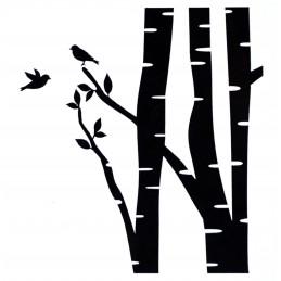 POCHOIR PLASTIQUE 13*13cm : branches et oiseaux (03)