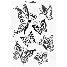 POCHOIR PLASTIQUE 26*18cm : papillons