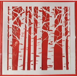 POCHOIR PLASTIQUE 13*13cm : troncs d'arbres (02)