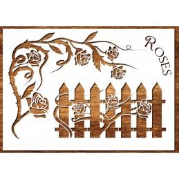 Pochoir A4 21*29,7 cm en plastique Mylar : Rosier grimpant