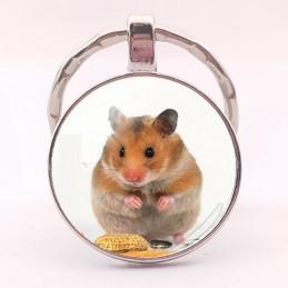 PORTE CLEF METAL ARGENTE : hamster 27 mm (01)