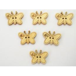 LOT 6 BOUTONS BOIS : papillon 22mm