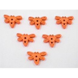 LOT 6 BOUTONS BOIS : libellule orange 15mm