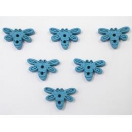 LOT 6 BOUTONS BOIS : libellule bleu 15mm