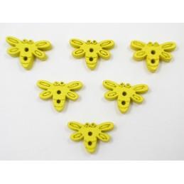 LOT 6 BOUTONS BOIS : libellule jaune 15mm
