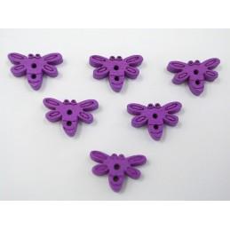 LOT 6 BOUTONS BOIS : libellule violette 15mm