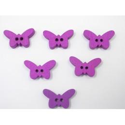 LOT 6 BOUTONS BOIS : papillon violet 17mm