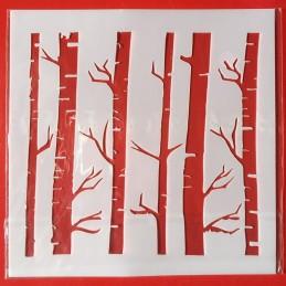 POCHOIR PLASTIQUE 13*13cm : troncs d'arbres (01)
