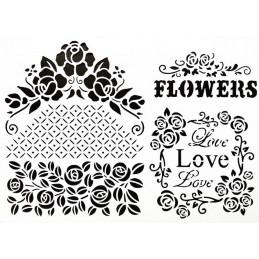 POCHOIR PLASTIQUE 30*21cm : vintage flower love