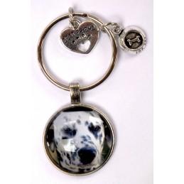 PORTE CLEF METAL ARGENTE : chien Dalmatien 27mm (01)