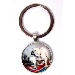 PORTE CLEF METAL ARGENTE : chien bouledogue 27mm (02)