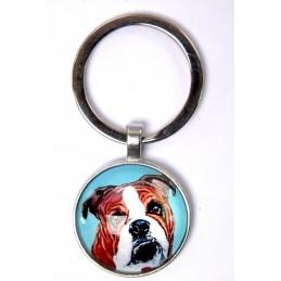 PORTE CLEF METAL ARGENTE : chien Boxer 27mm (01)