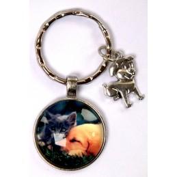 PORTE CLEF METAL ARGENTE : chien Labrador et chat gris 27mm (01)