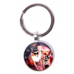 PORTE CLEF METAL ARGENTE : chien couple de Boxer 27mm (01)